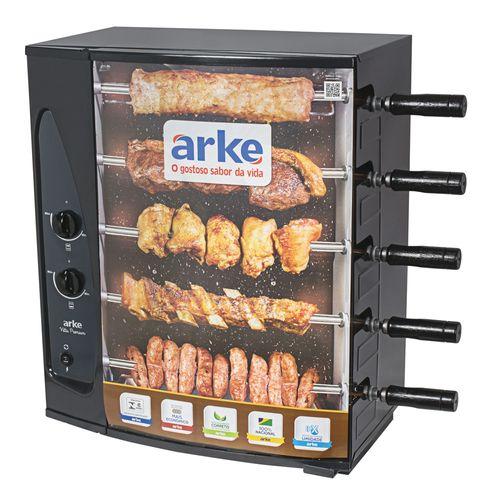 Churrasqueira-a-Gas-GLP-Giratoria-Arke-Vitta-Premium-com-5-Espetos-com-Acendimento-Automatico
