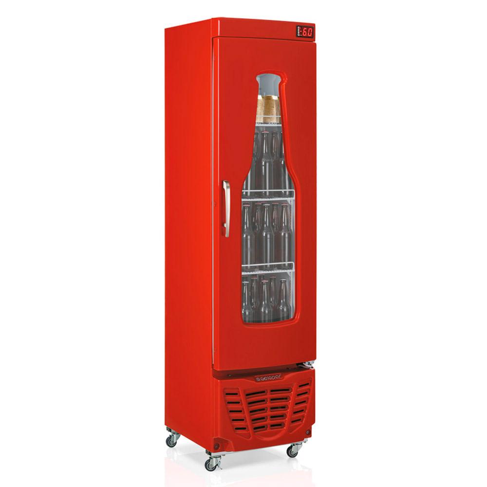 Cervejeira Gelopar 228 Litros Vermelha Porta De Vidro Grba